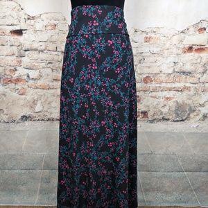LuLaRoe 2XL Black Pink Blue Floral Maxi Skirt